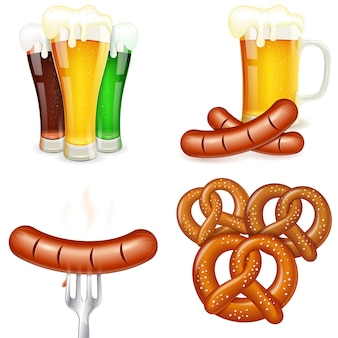 Temi dell'oktoberfest con birra e snack