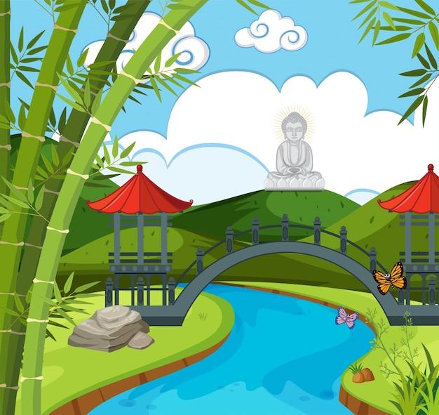 Tempio cinese con fiume e figura di buddha