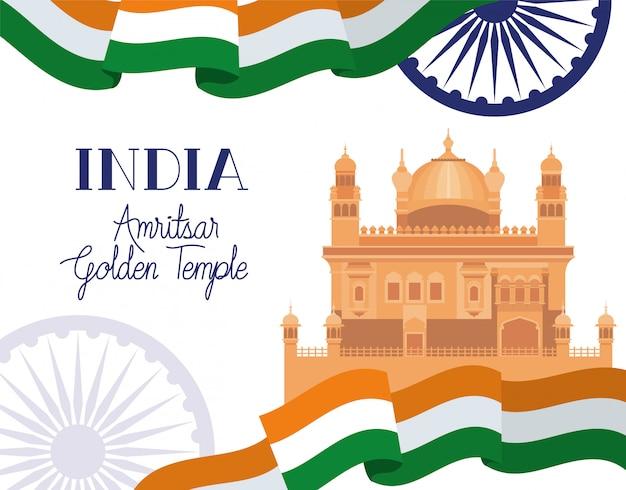 Tempio d'oro indiano amritsar con bandiera