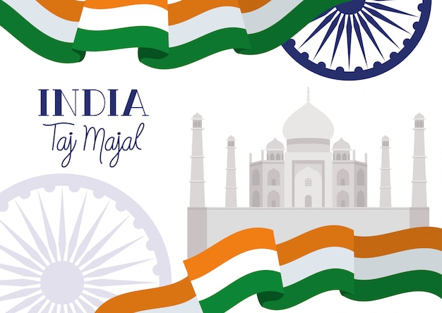 Tempio di taj majal indiano con bandiera