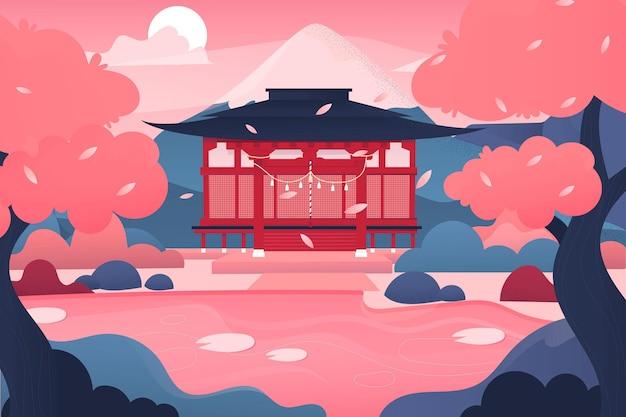 Tempio giapponese sfumato e alberi rosa