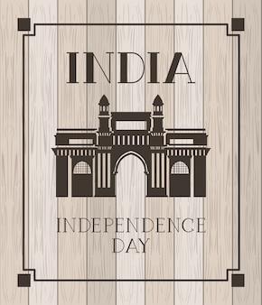 Tempio indiano del cancello con di legno