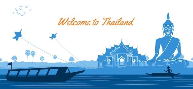 Tempio tailandese di buddha con un'imbarcazione a remi