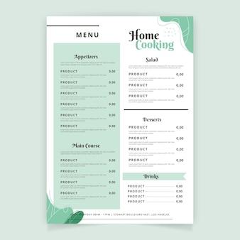 Templat menu ristorante minimalista