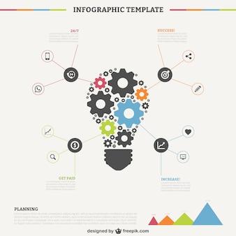 Template infografica con la lampadina