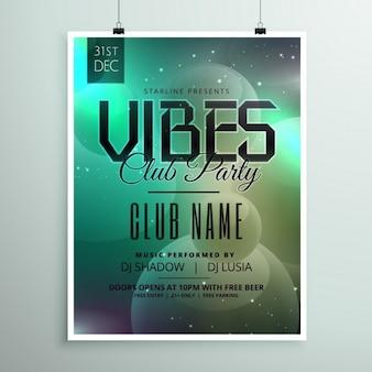 Template volantino del club festa di musica con i dettagli dell'evento invito