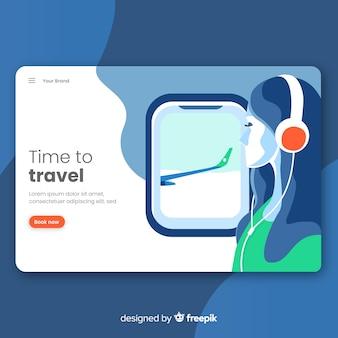 Templatee pagina di destinazione di viaggio piatta