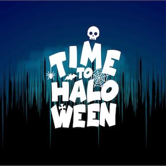 Tempo al vettore di progettazione di tipografia di Halloween