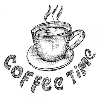 Tempo del caffè e mattina caffè, schizzo di doodle