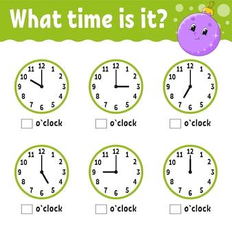 Tempo di apprendimento all'orologio. foglio di lavoro per attività educative per bambini e neonati.