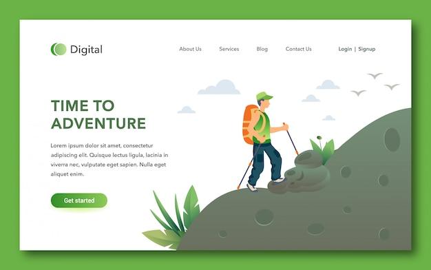Tempo di avventura design della pagina di destinazione