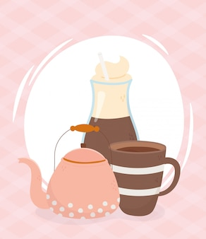 Tempo di caffè, tazza di caffè moka e bevanda fresca