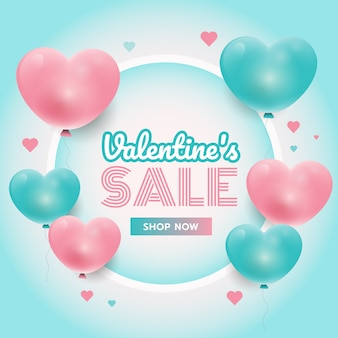 Tempo di festa, sfondo di san valentino con cuori 3d rosa e blu, cornice del cerchio, promozione delle vendite