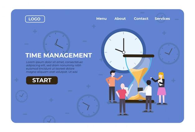 Tempo di gestione dell'atterraggio web con conto alla rovescia clessidra