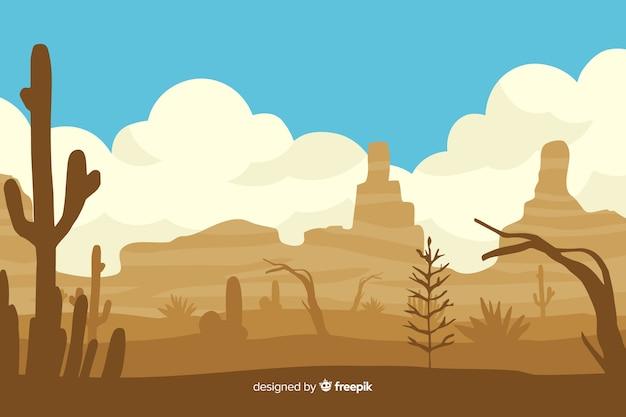 Tempo di giorno del paesaggio del deserto con il cactus