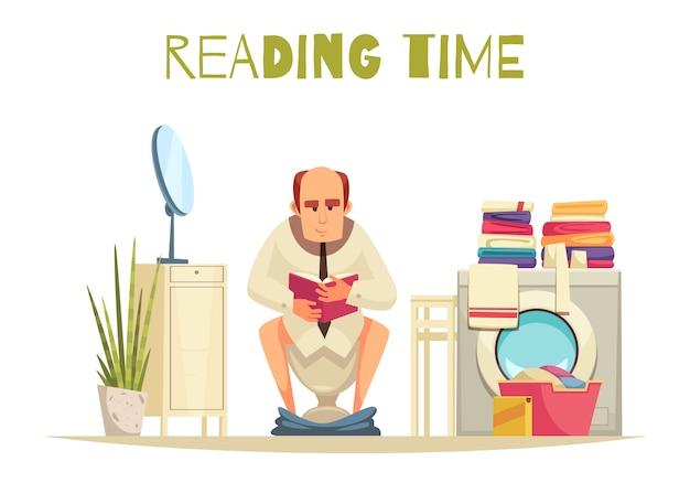 Tempo di lettura in bagno con lavatrice piatta