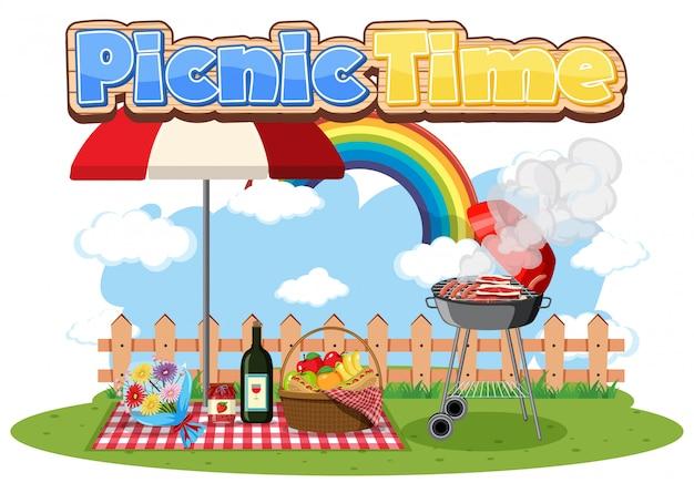 Tempo di picnic con cibo nel parco