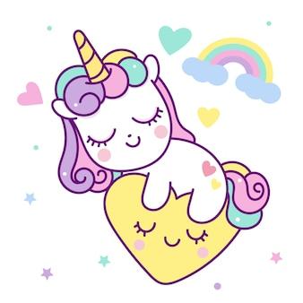 Tempo di sonno vettoriale unicorno con il cuore