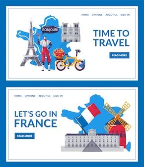 Tempo di viaggiare, andiamo in francia, studiando l'illustrazione stabilita di atterraggio. pagina del sito web che impara corsi di lingua straniera