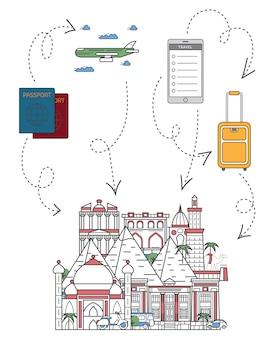 Tempo di viaggiare illustrazione in stile lineare