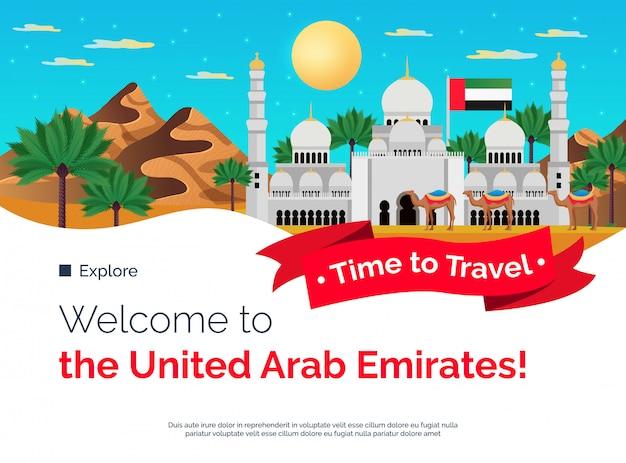 Tempo di viaggiare insegna variopinta piana degli emirati arabi uniti con l'illustrazione facente un giro turistico delle attrazioni della moschea delle palme delle montagne
