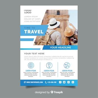 Tempo di viaggiare modello blu con foto