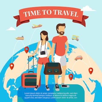 Tempo di viaggiare poster piatto con coppia di turisti in piedi con bagaglio e globo del mondo