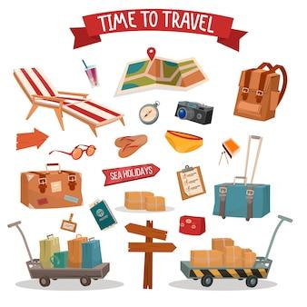 Tempo di viaggiare. set di elementi summertime vacanze con bagaglio