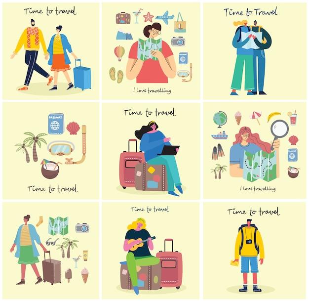 Tempo di viaggiare vector l'illustrazione con il viaggiatore isolato dei giovani in varia attività con bagagli e attrezzatura turistica nella progettazione piana moderna