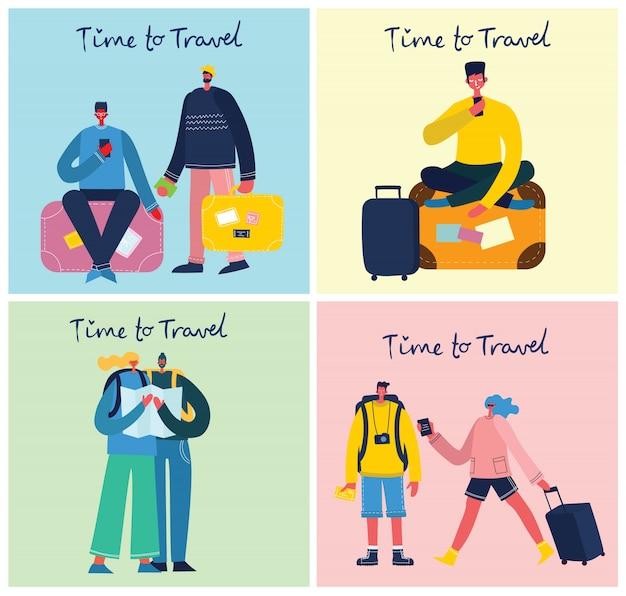 Tempo di viaggiare vector l'illustrazione con il viaggiatore isolato del giovane in varia attività con bagagli e attrezzatura turistica nella progettazione piana