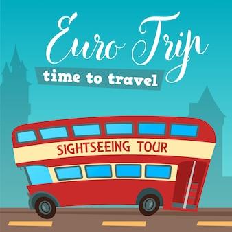 Tempo di viaggiare. viaggiare in autobus. euro trip. illustrazione vettoriale
