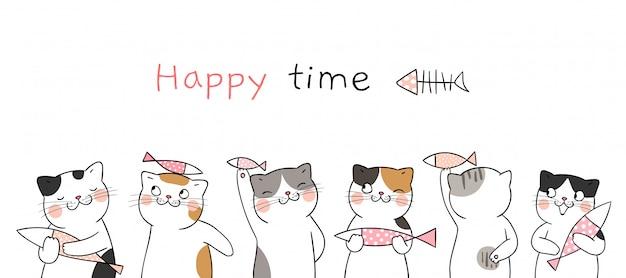 Tempo felice. disegna dei simpatici gatti che tengono il pesce.