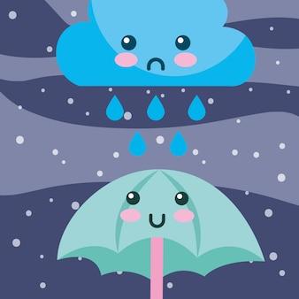 Tempo pioggia scende nuvola e ombrello cartoon