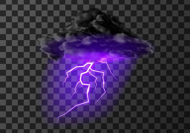 Temporale nuvola di fulmini su trasparente
