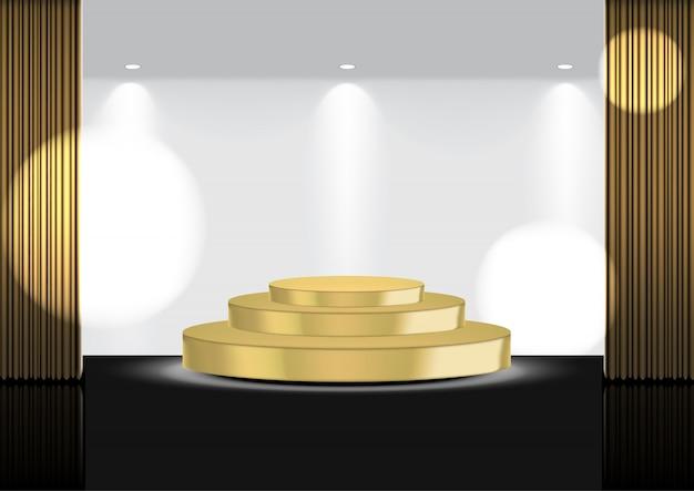 Tenda 3d realistica aperta in oro su palcoscenico metallico o cinema per spettacoli, concerti o presentazioni con spotlight