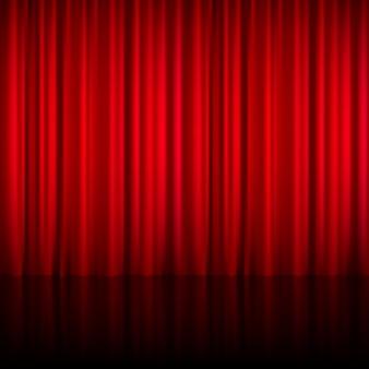 Tenda chiusa teatrale rossa realistica di materiale brillante con l'illustrazione di vettore del pavimento di riflessione in scena