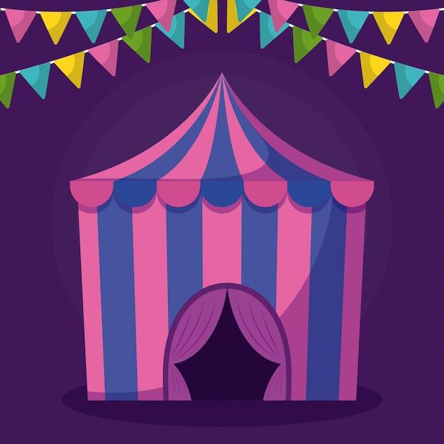 Tenda da circo con icona isolata ghirlande