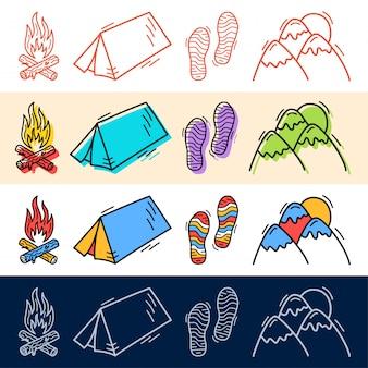 Tenda da viaggio a mano disegnare, passo, set di icone di montagna in stile doodle per il vostro disegno.