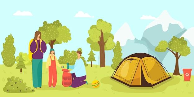 Tenda dell'accampamento in foresta, famiglia all'illustrazione della natura di estate. attività turistica in vacanza. tempo libero avventura dei cartoni animati. equipaggi il viaggio all'aperto della gente della donna, paesaggio di viaggio di festa.