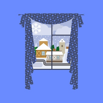 Tenda della finestra con paesaggio invernale della città
