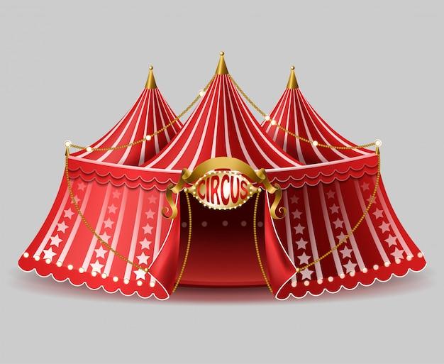 Tenda di circo realistica 3d con l'insegna illuminata per spettacolo, spettacolo di divertimenti.
