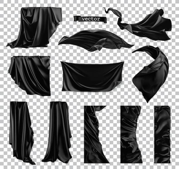 Tenda nera. set realistico 3d di tessuto panneggio
