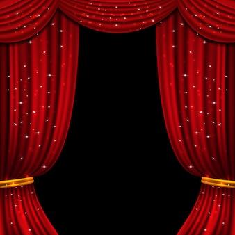 Tenda rossa aperta con luci scintillanti. sfondo