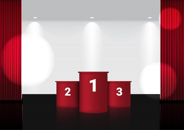 Tenda rossa aperta realistica sul palco del premio rosso