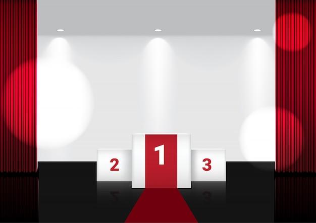 Tenda rossa aperta realistica sul palco del premio