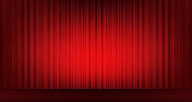 Tenda rossa classica di vettore con sfondo di scena, stile moderno.