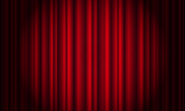 Tenda rossa con riflettori in teatro. tenda cinema in tessuto di velluto