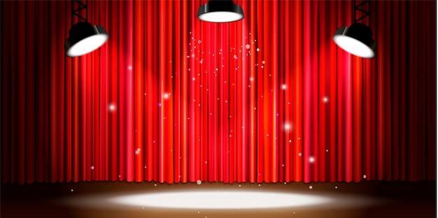 Tenda rossa luminosa con illuminazione spotlight brillante, ampio sfondo di palcoscenico teatrale retrò