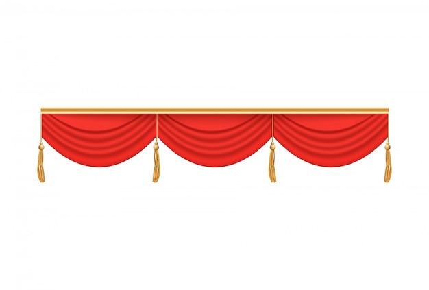 Tenda rossa per teatro con mantovana a tre pieghe