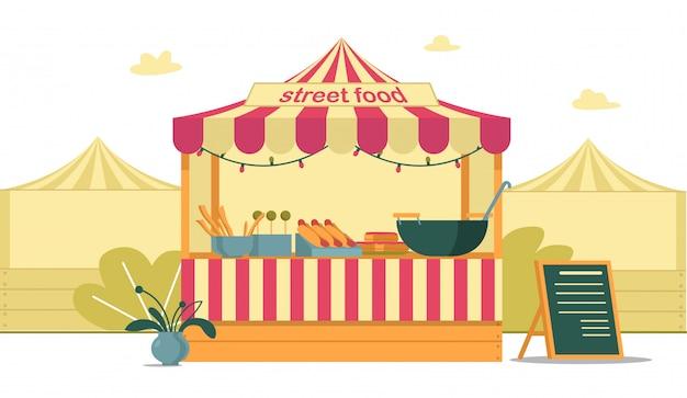Tenda street food alla fiera della città, cartone animato luminoso.